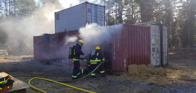 Live fire training at the HLOBFD training grounds in Port Sydney (Port Sydney Firefighters' Association / Facebook)