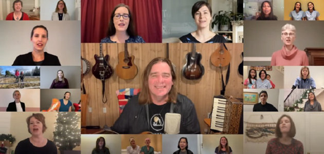 Canadian musician Alan Doyle (centre) with some of the participants in the virtual physicians' choir (YouTube)