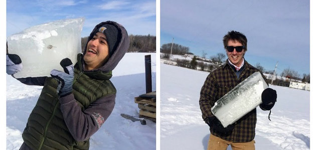 Orion Austrup (left) and Colin Sober-Williams cut ice for Eat Local Muskoka (supplied)