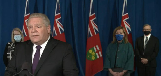 Premier Doug Ford with (from left) Solicitor General Sylvia Jones, Deputy Premier and Minister of Health Christine Elliott, and Dr. David Williams, Chief Medical Officer of Health (YouTube)