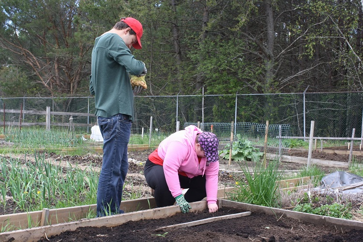 Ryan O'Connor and his friend Margo Cybulski in the community garden at the fairgrounds (supplied)