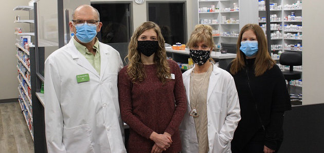 (From left) Pharmacist Bill Coon, pharmacy intern Meghan Coon. and pharmacists Barb Coon and Jenna Whitehead (supplied)