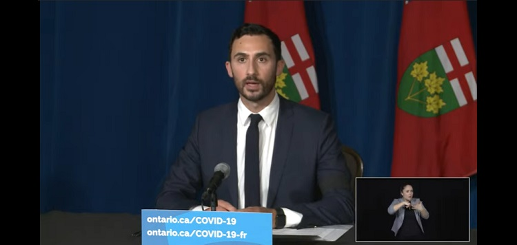 Ontario Minister of Education Stephen Lecce in a briefing on April 12, 2021 (Premier of Ontario channel / YouTube)